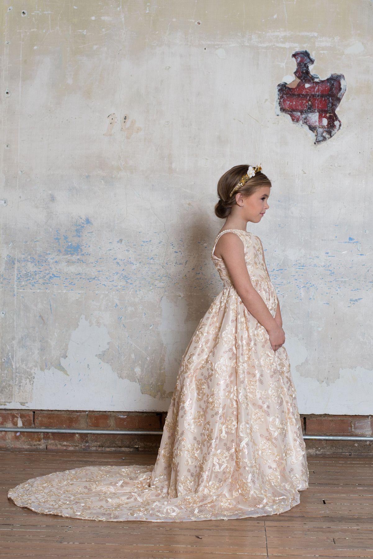 Champagne train gown by Loren Franco Designs