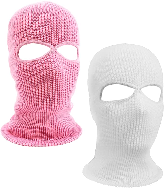 Suntrade 2 Hole Knitted Full Face Cover Ski Mask Winter Balaclava Beanie For Outdoor Sport Set Of 2 Pink Ski Mask Knitted Balaclava Robber Halloween Costume