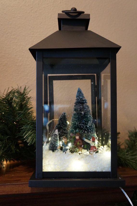 This Gorgeous Dark Rustic Lantern Comes With Lights And A Winter Scene Of People Ice Skating This Makes T Christmas Diy Holiday Lanterns Christmas Decorations