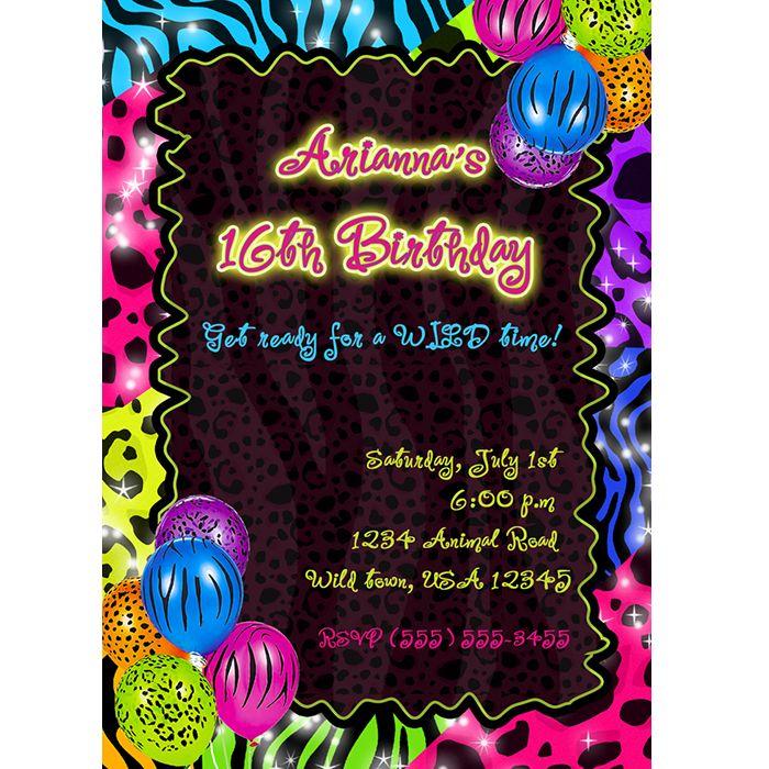 Neon animal print with balloons | Animal Print Invitations ...