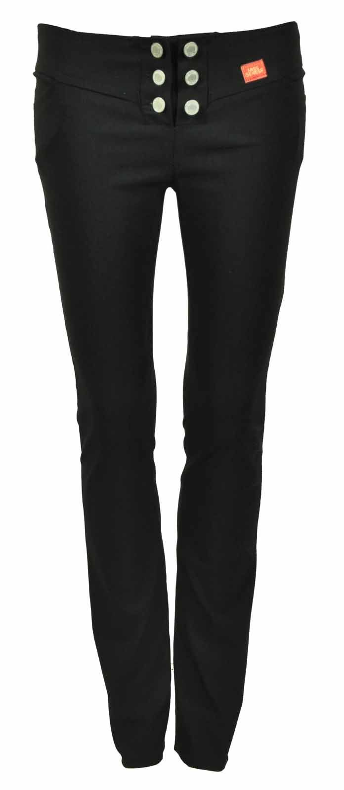 4caf641a645 New womens plain black stretch hipster ladies trousers