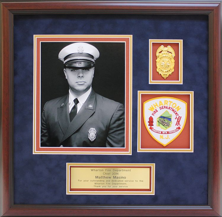 Fire Department collage with photograph, badge, patch and custom ...