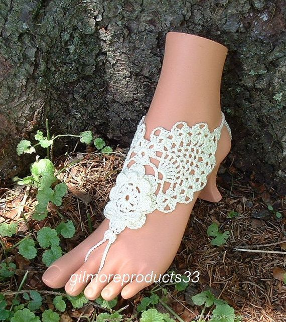 Beautiful Designed Crochet Barefoot Sandals Beach Shoes Anklets