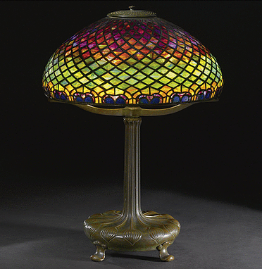TIFFANY STUDIOS PEACOCK FEATHER TABLE LAMP. | Tiffany