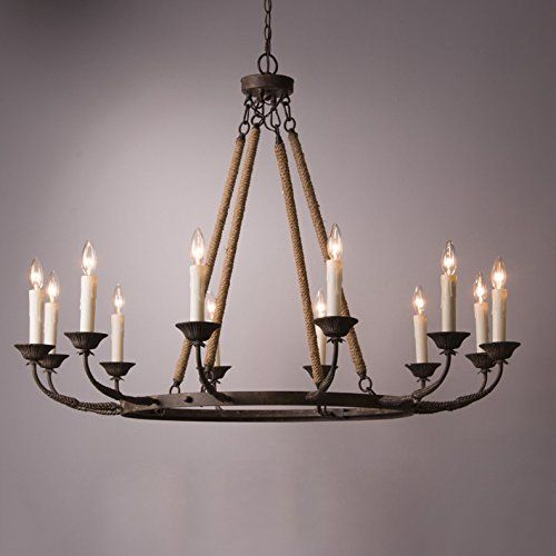 Lovedima Vintage Flaxen Hemp Rope And Metal 12 Light Rust Https Www Amazon Com Dp B077tmk Candelabra Chandeliers Rustic Chandelier Round Candle Chandelier