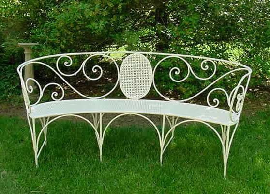 Antique wrought iron curved scrolled bench, French 1900's - Oh how I wish this was mine! Date: circa 1900