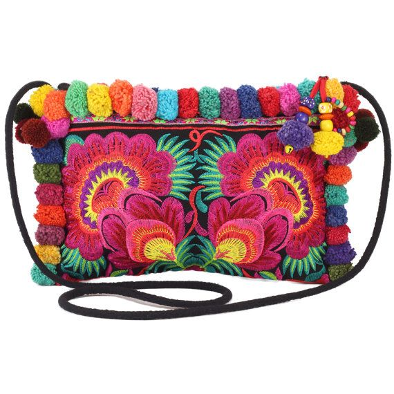Mix PomPoms 4 Red Rose Hmong Embroidered Hill Tribe Handmade Purse ...