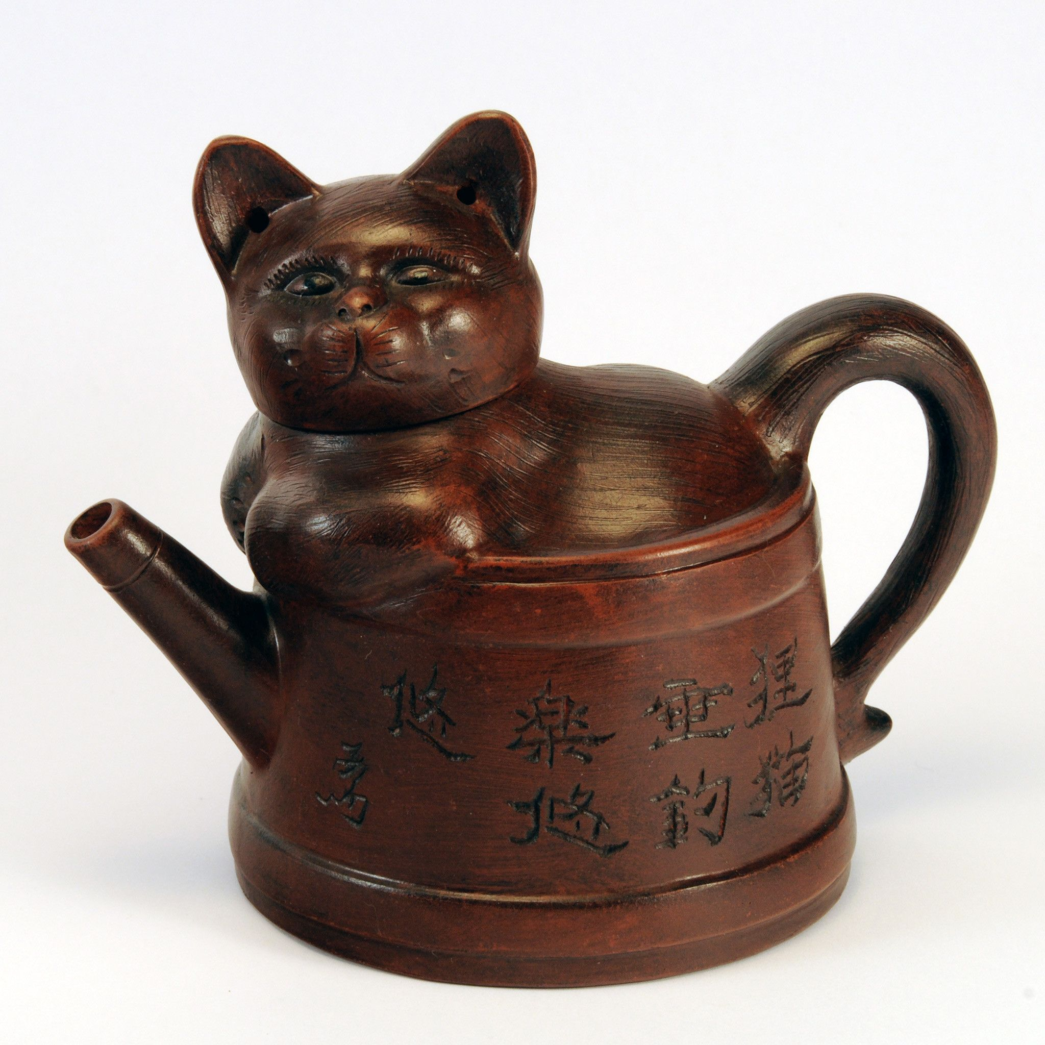 Chinese clay cat teapot, textured brown Tea pots, Clay