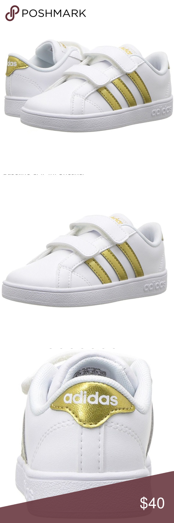 Kids adidas baseline CMF Inf shoes Size 10k (kids) New with box and tags  White with gold (logo) adidas Shoes Sneakers 766a09100