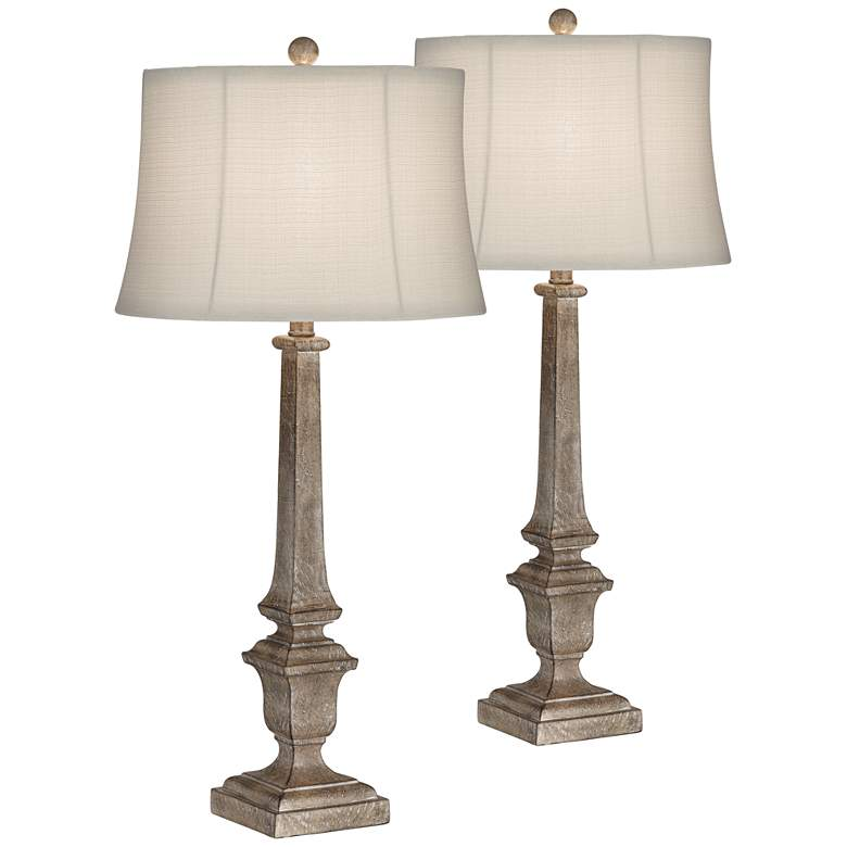 Jefferson Natural Wood Toned Column Table Lamps Set Of 2 60m77 Lamps Plus Table Lamp Table Lamp Wood Table Lamp Sets