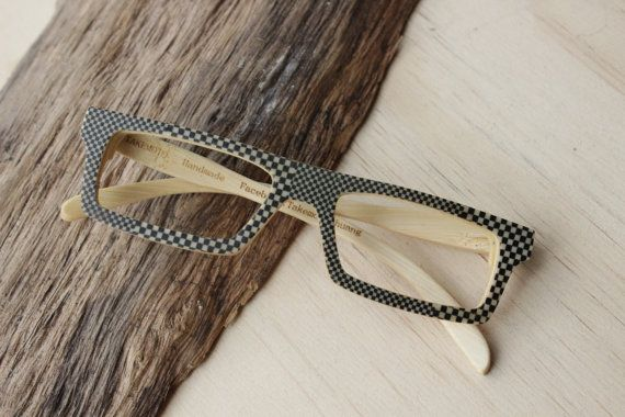 edee6787c3 100% handamde Black and white plaid glasses from by TAKEMOTO ...