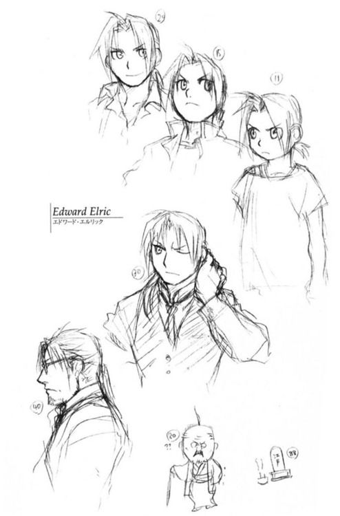 lamppu:    Edward Elric through the years - Sketches by Hiromu Arakawa