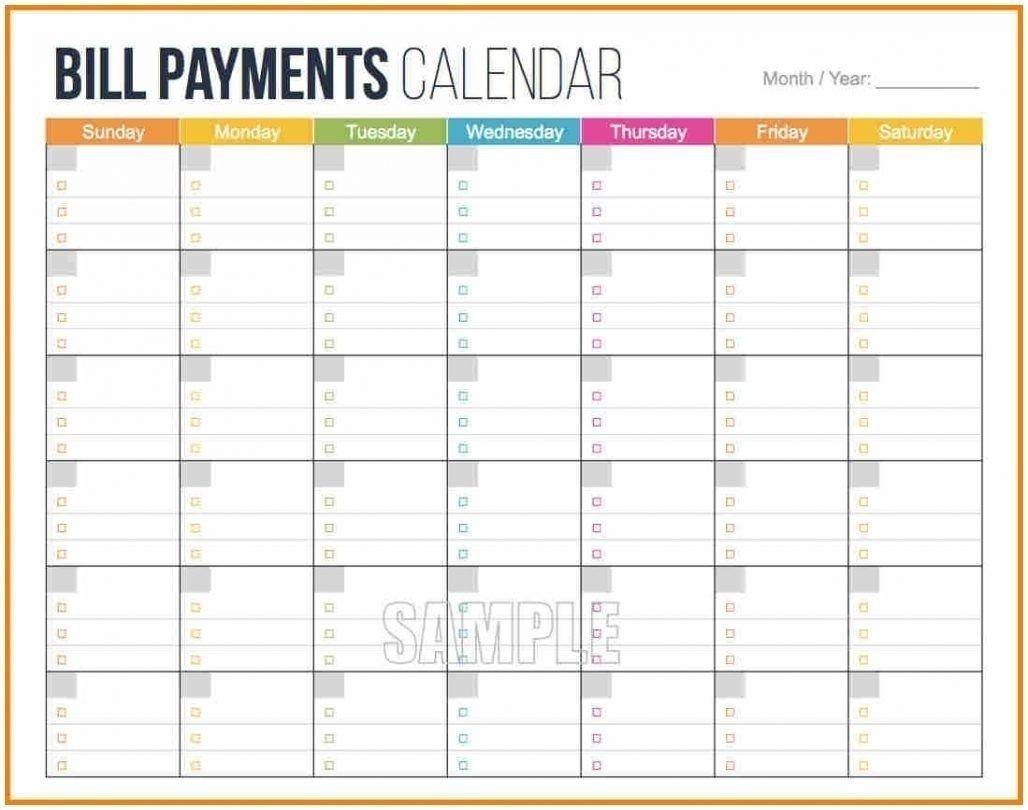Blank Monthly Bills Calendar Printable