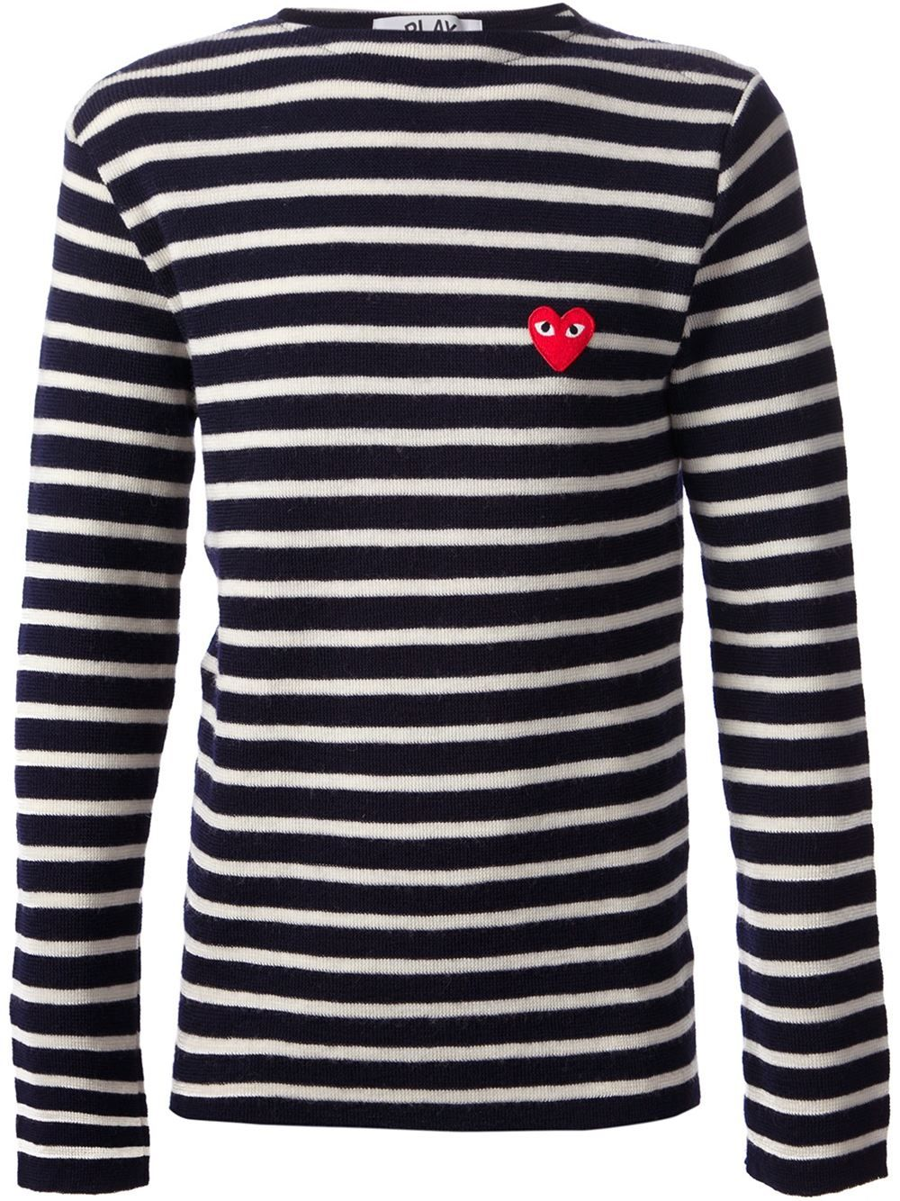 38279fdf81e CDG Play, Striped Logo Sweater (Navy) | Streetwear and High Fashion ...