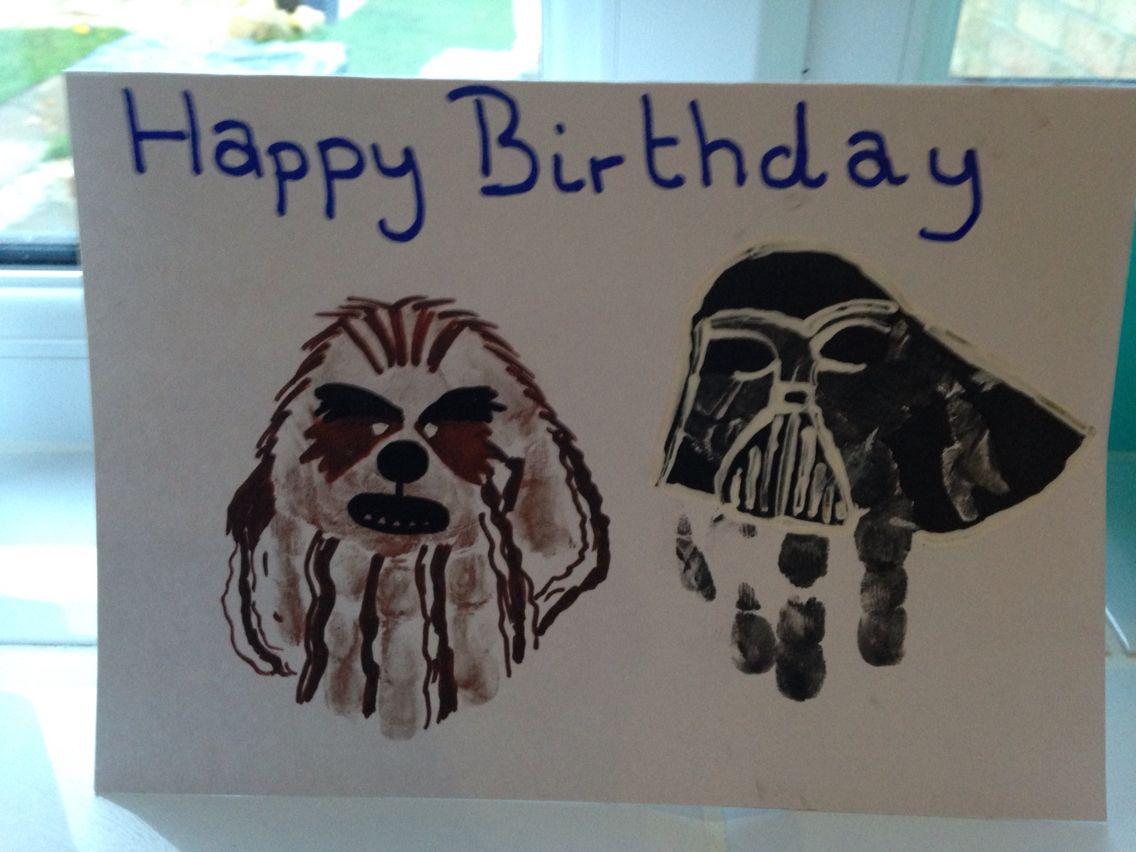 Hand print craft star wars birthday cards for children