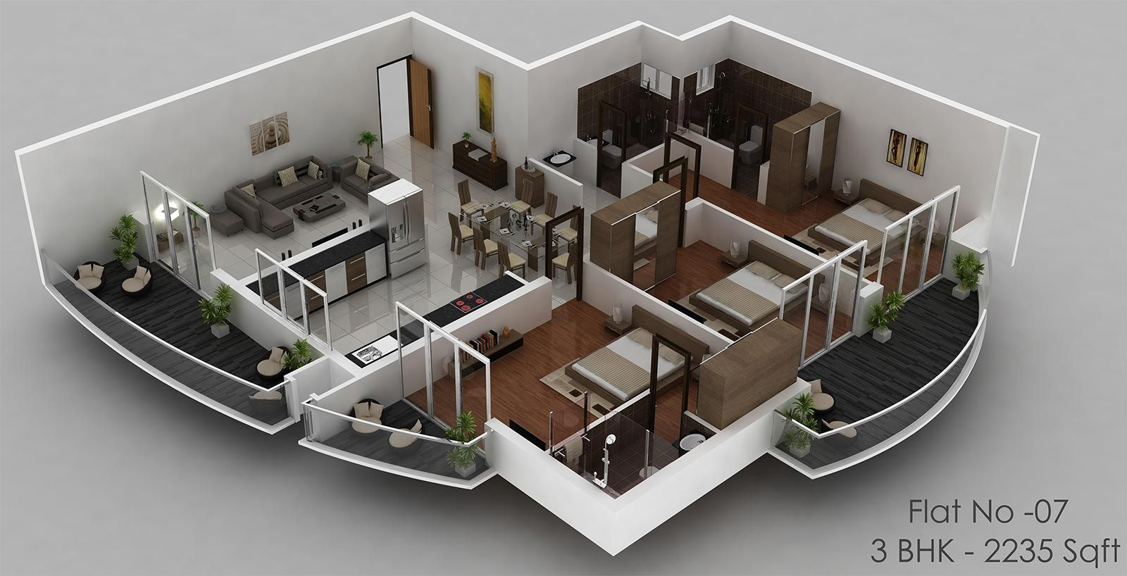 House plan with indoor pool duplex floor plan 3d design for Modern 2 bedroom apartment design
