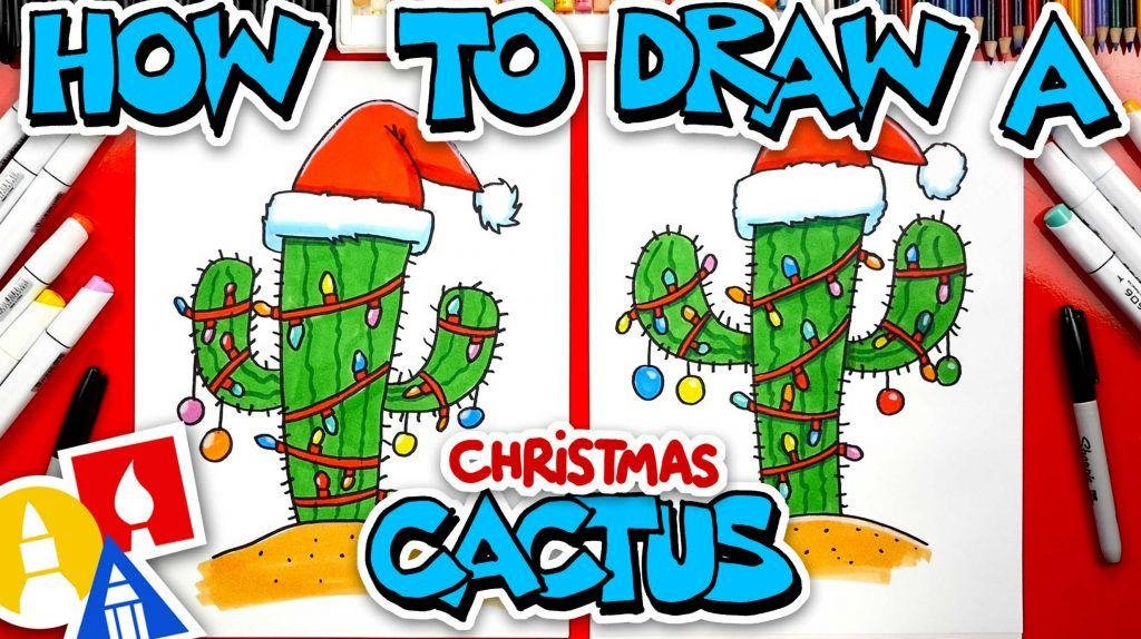 How To Draw A Christmas Cactus - Art For Kids Hub - | Art for kids hub, Art for kids, Christmas ...