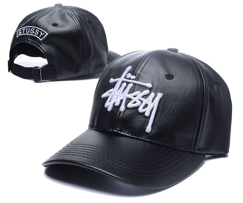 41b95e01783 Men s   Women s Stussy The Stock Logo Embroidery Full PU Leather Adjustable  Hat - Black   Whtie