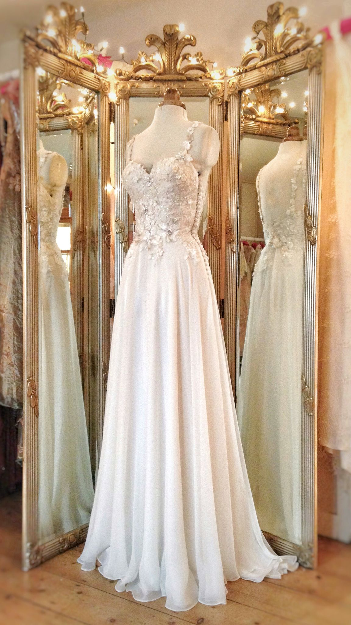 Althea Wedding Dress With Flower Embellished Bodice And Flowing Silk Chiffon Skirt
