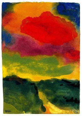 """""""Paisaje verde con nube roja"""" (1930). EMIL NOLDE (1867 - 1956). Artista EXPRESIONISTA alemán que vive en un lugar solitario y pantanoso en la frontera entre Alemania y Dinamarca ... """"Quiero crear y hacer brotar mi arte como la tierra hace crecer al árbol"""" (Emil Nolde)."""