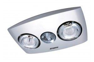Martec Contour 2 Heat Bathroom 3-in-1 Silver complete with CFL13w R80 Fluorescent Globe
