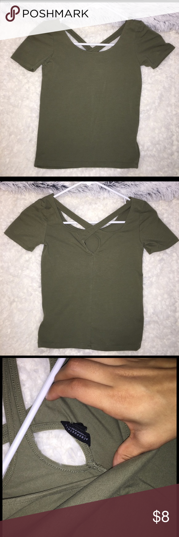 Olive green crop top only worn once! very flattering color, size small Aeropostale Tops Crop Tops