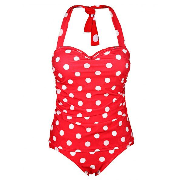 Chic Halter Ruffled Polka Dot One-Piece Women's Swimwear — 15.31 € Size: XL Color: RED