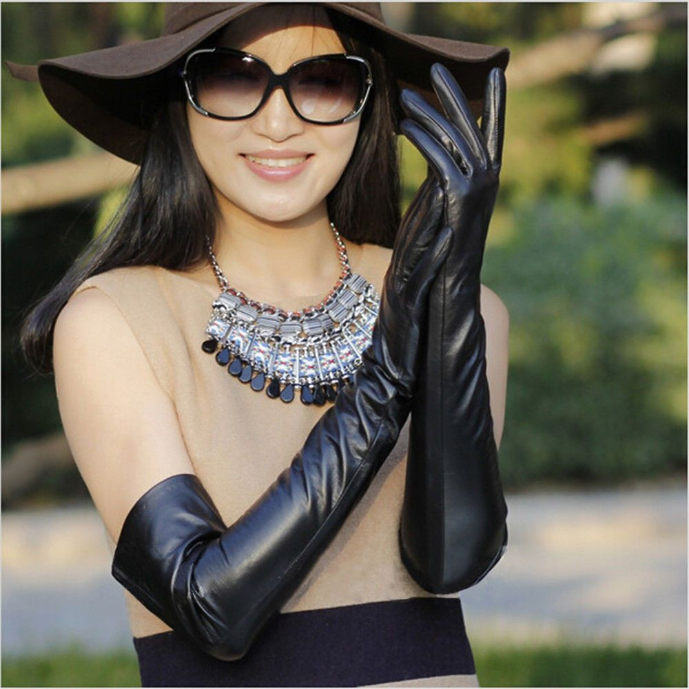 Best womens leather gloves - Women Cosplay Black Shiny Wet Look Faux Leather Long Gloves Best Holiday Gift In Clothing