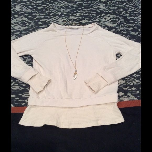 Ivory thermal style sweatshirt Ivory super soft sweatshirt with detail at cuff and hem. Poly/rayon. Made in USA! Boutique brand- American Able. Able Sweaters Crew & Scoop Necks