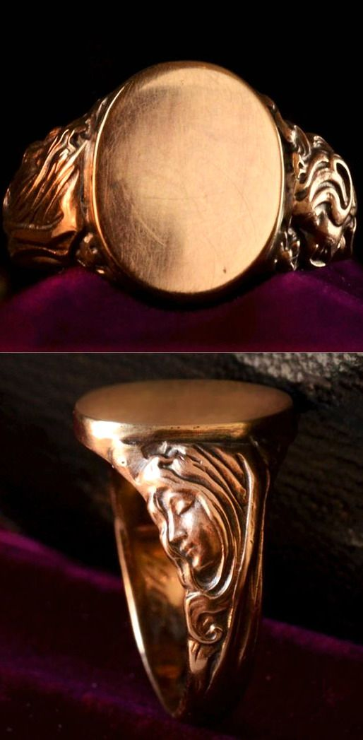 1905 Art Nouveau Figural Signet Ring, 14K Gold, The nicest signet ring I've seen in a long time.
