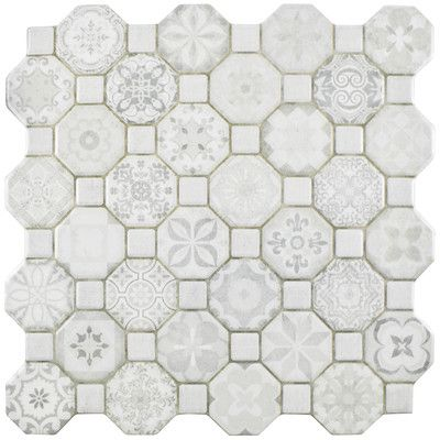 Edredon 12 X 12 Ceramic Octagon And Dot Mosaic Wall Floor Tile Ceramic Floor Wall Tiles Floor And Wall Tile