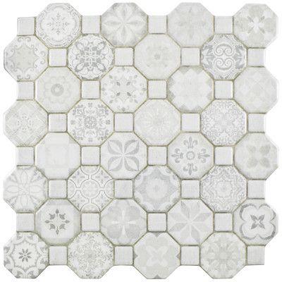 Edredon 12 X 12 Ceramic Octagon And Dot Mosaic Wall Floor Tile Ceramic Floor Wall Tiles Floor And Wall Tile