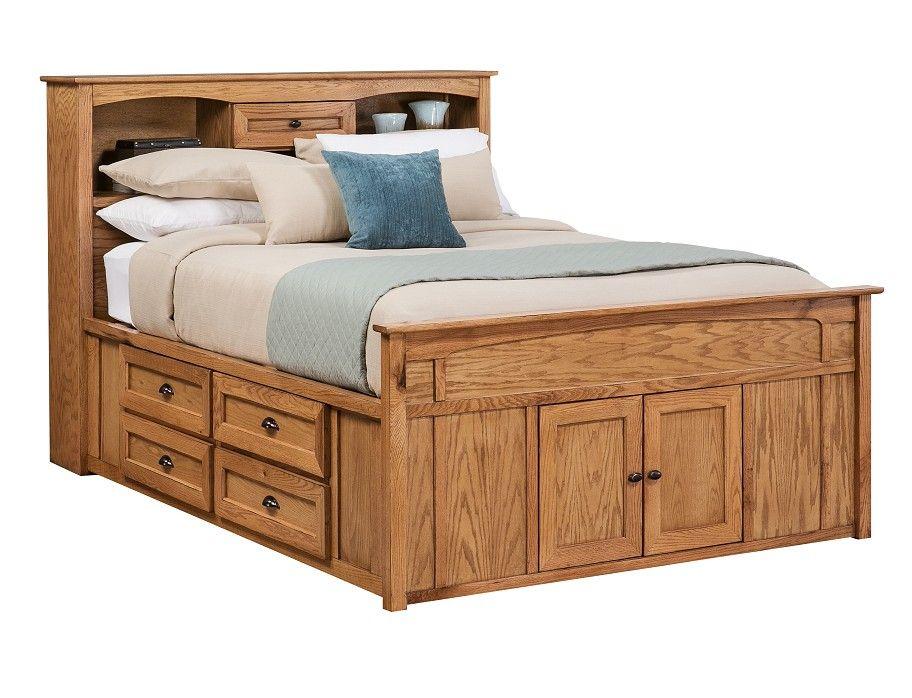 Slumberland Oak Creek Collection Honey Queen Capt Bed Storage