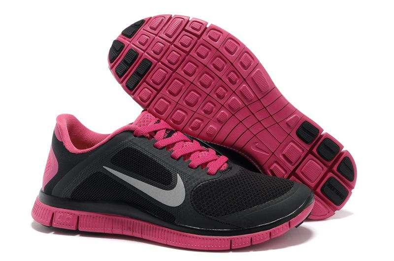 size 40 878c7 a8e69 Womens Black Pink Nike Free 4.0 V3 Running Shoes ...