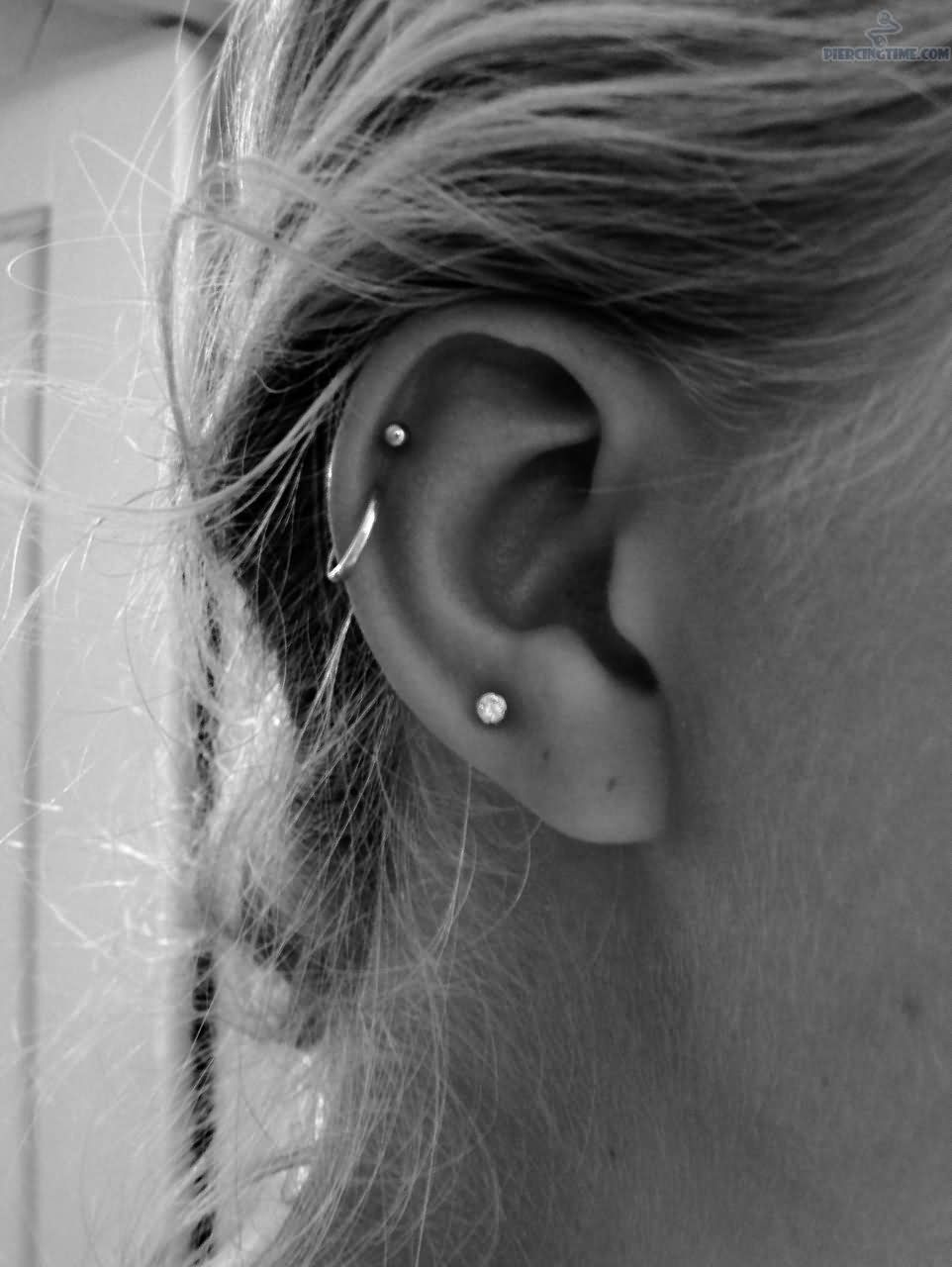 Ear Cartilage And Helix Piercing For Girls
