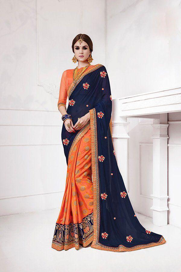d9e2638680c06 Orange   Navy Blue Color Jacquard Silk Fabric Saree