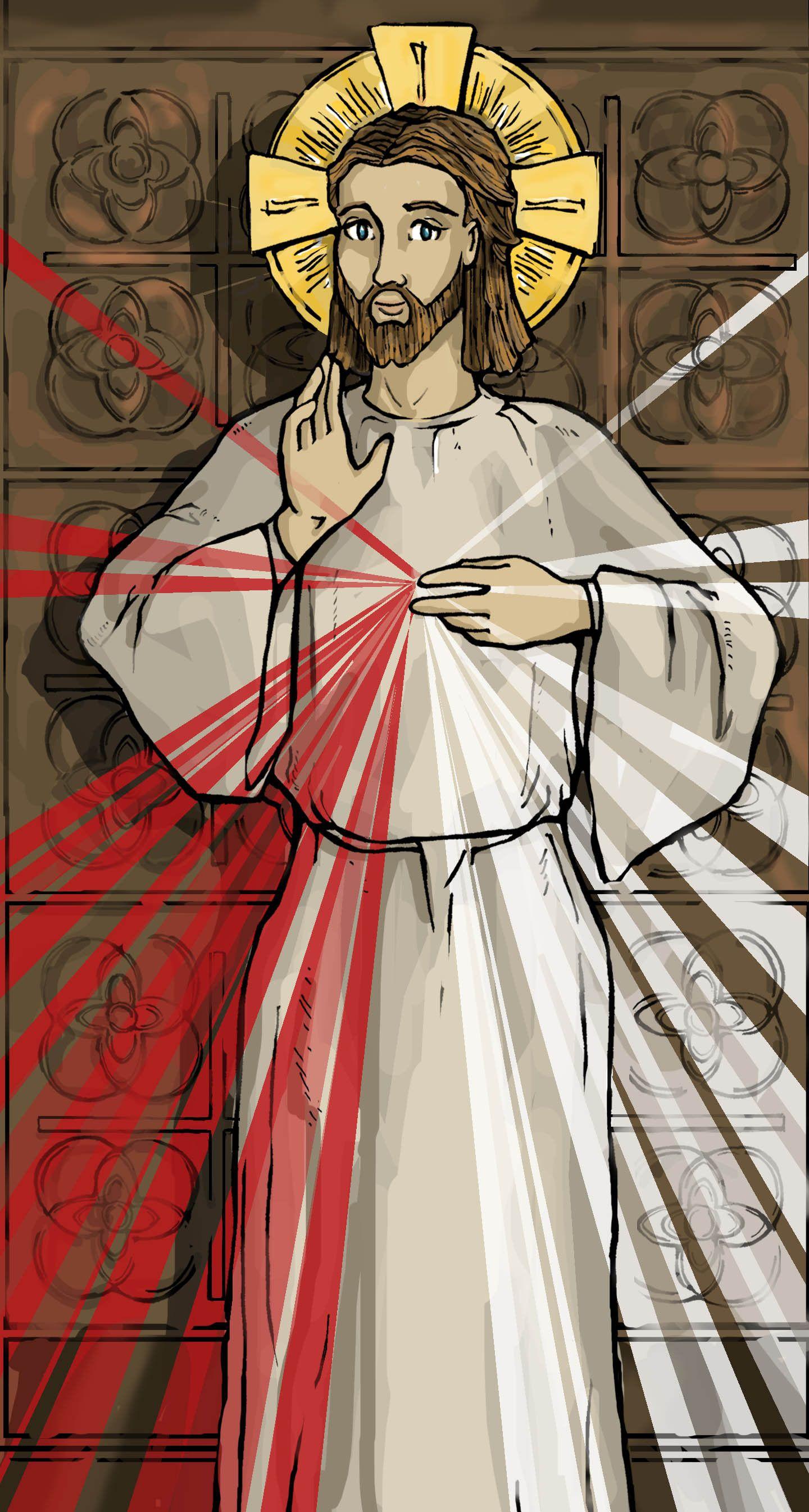 Matrimonio Catolico Dibujo : The divine mercy of jesus holy card dibujo divina misericordia