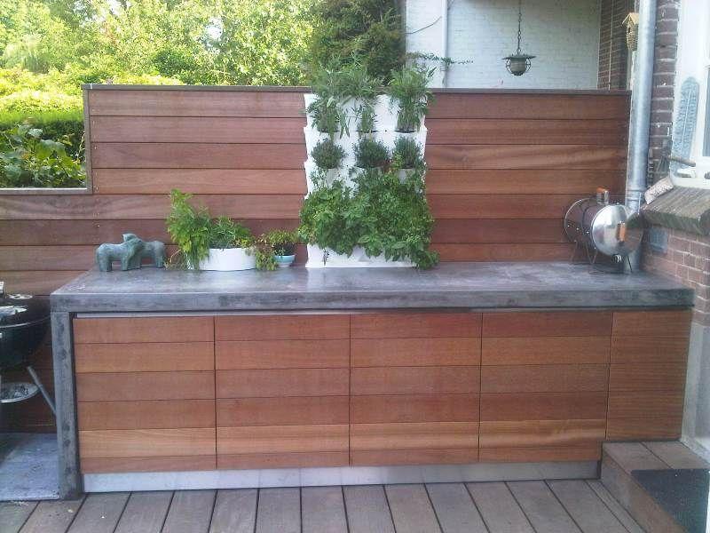 Solidus buitenkeuken beton en hardhout pitelli huisje in itali pinterest tuin - Deco kleine tuin buiten ...