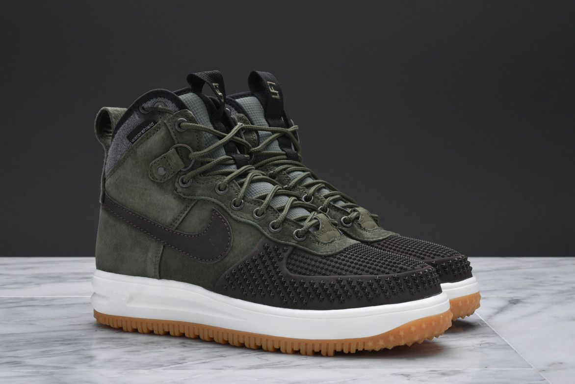 f84d0de4a393 The newest colorway of the Nike Lunar Force 1 Duckboot combines Army Green  suede with a Baroque Brown rubber toe.