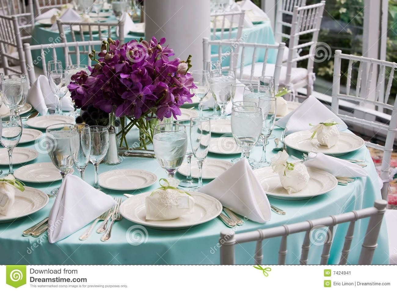 Table Set For A Wedding Reception Stock Image Of Plate Seating 7424941