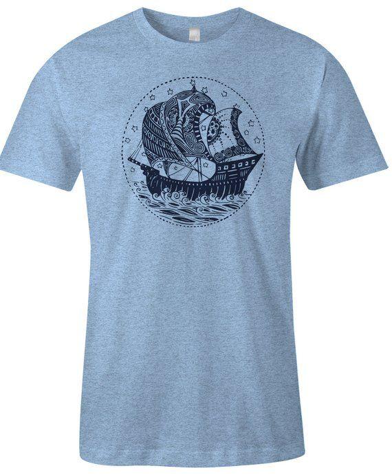 b3e6ad0a Nautical Pirate Ship T Shirt - Boat Tee Shirt - American Apparel Poly  Cotton Men's Unisex T-Shirt -