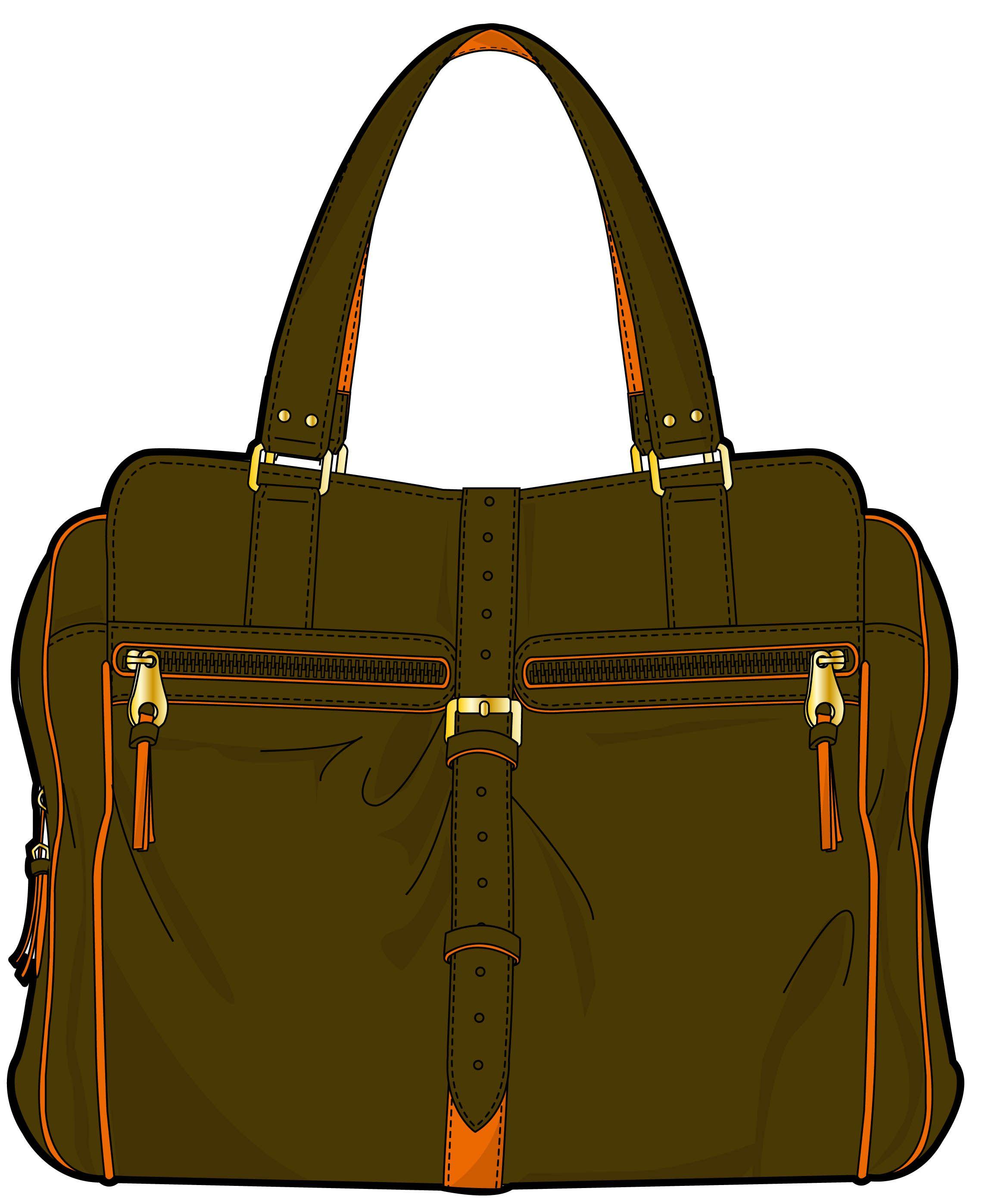 green handbag with orange seam and golden clasp   Bag