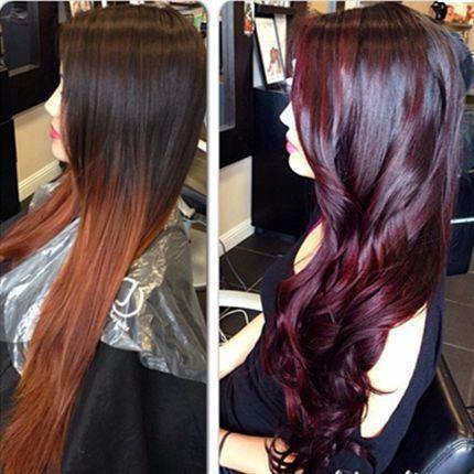 Haarfarbe dunkelbraun violett