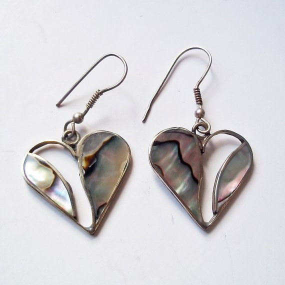 Vintage Mexican Inlaid Abalone Alpaca Heart Shaped Earrings Wire For Pierced Ears