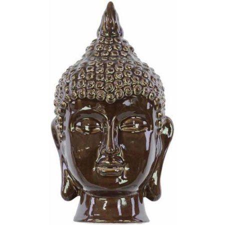 Urban Trends Collection: Ceramic Buddha Head, Gloss Finish, Gray, Brown