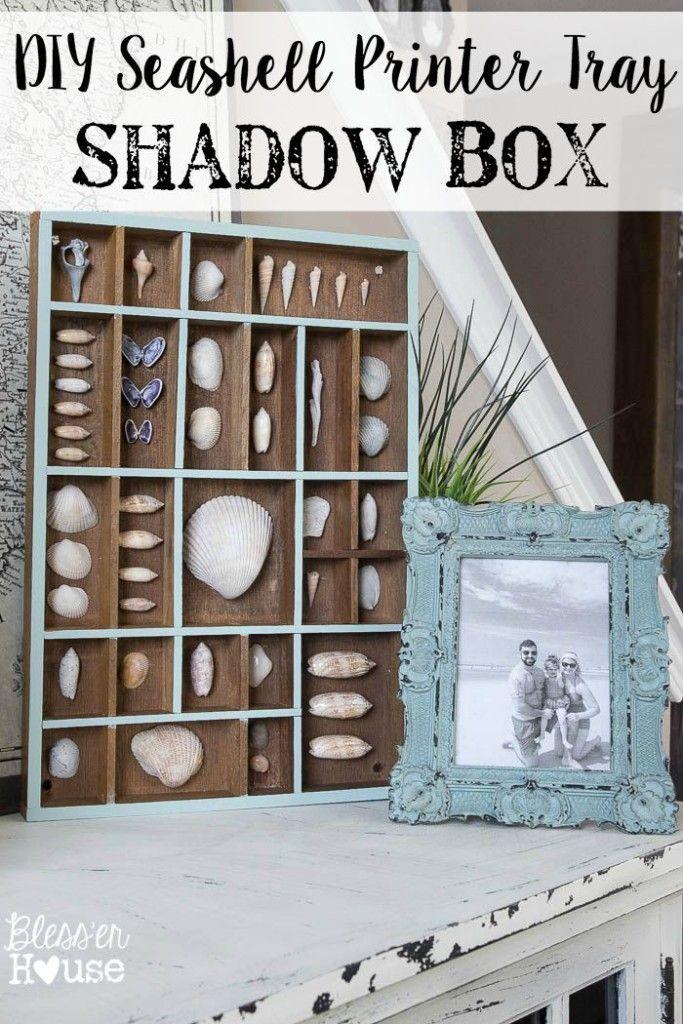 Seashell Printer Tray Shadow Box + Coastal Vignette | Conchas y ...