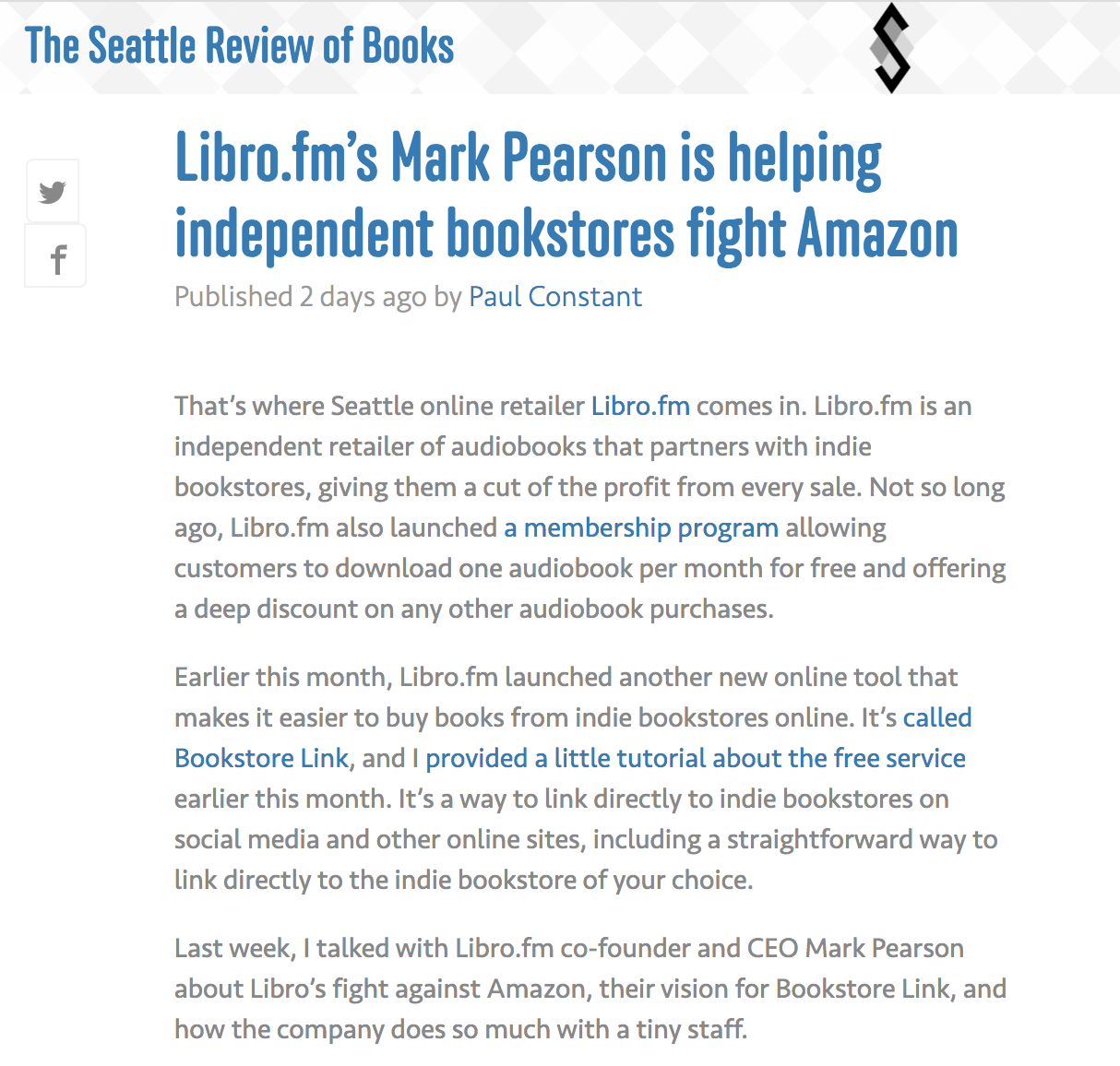 The Seattle Review of Books: Libro.fm's Mark Pearson is helping independent  bookstores fight Amazon in 2020 | Bookstore, Indie bookstore, Pearson