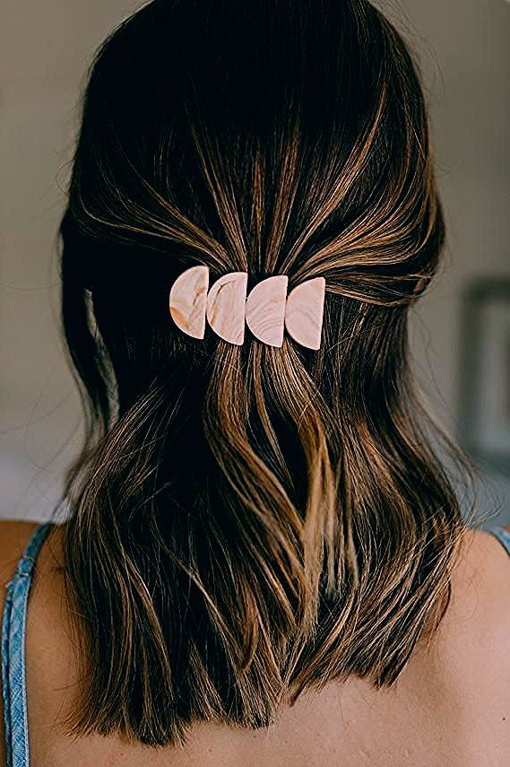 Photo of half moon barrette – handmade minimal polymer clay hair clip