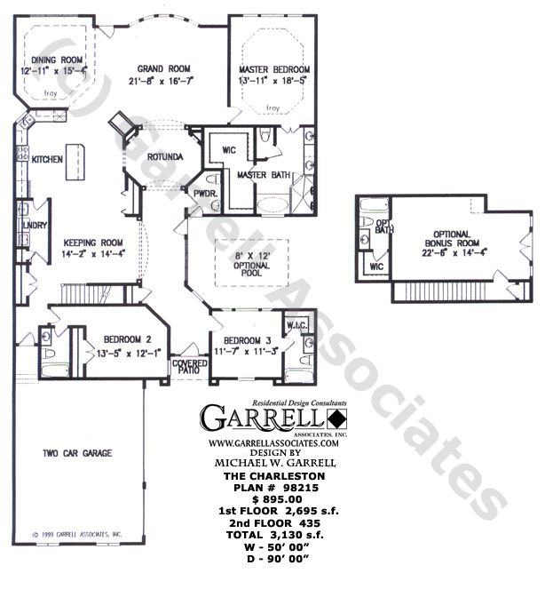Charleston House Plan 98215 Floor Plan Traditional
