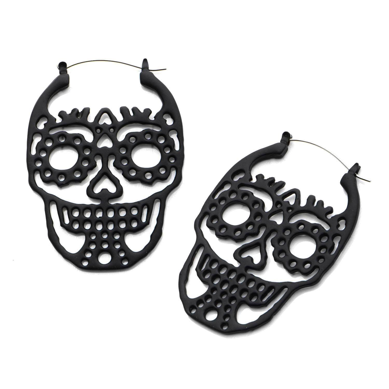 Sugar Skull Tunnel Hoop Earrings Sugar skull earrings